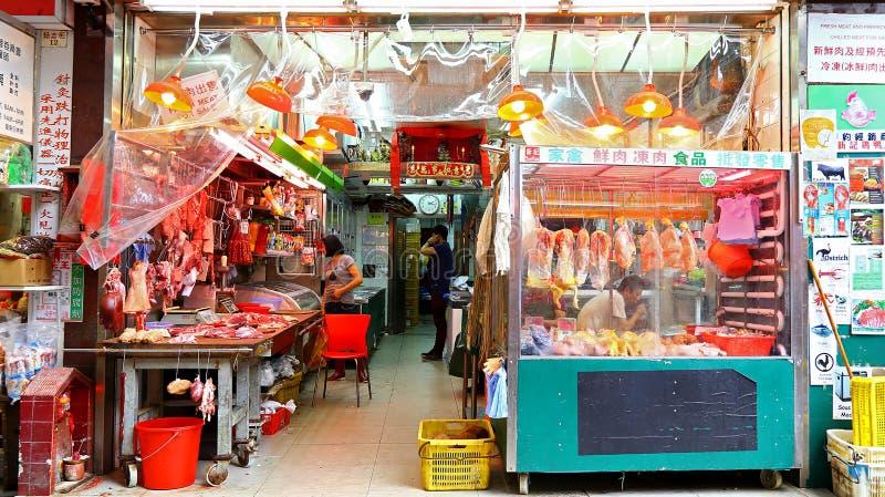 Marknad för nytt kött på måttgatan, Hong Kong fotografering för bildbyråer