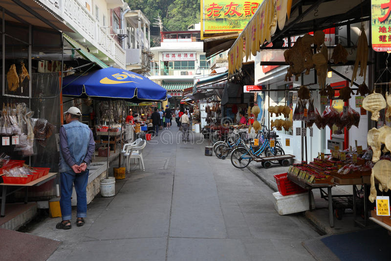 Marknad i kinesiskt fiskeläge arkivfoto