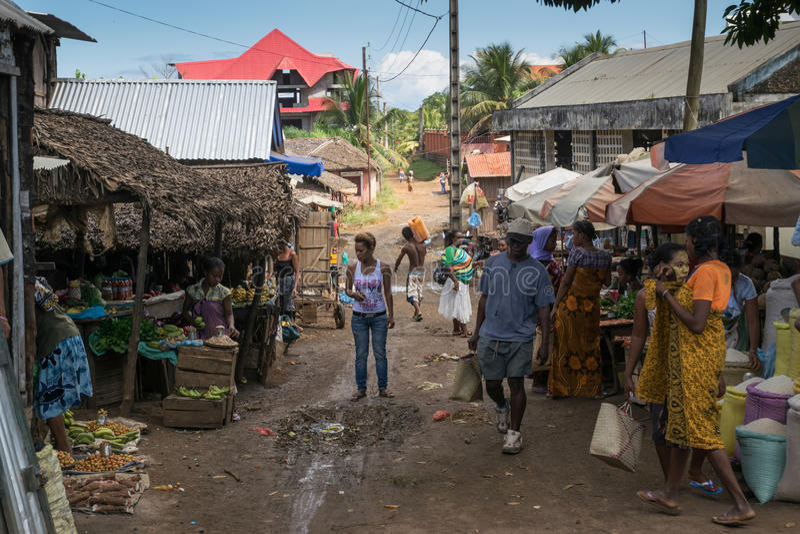 Marknad i Madagascar arkivbild