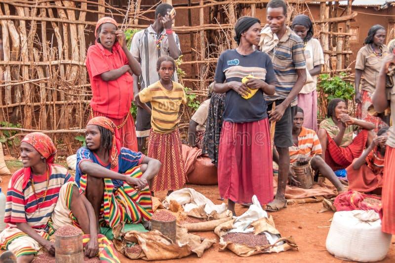 Marknad i nyckel- Afer fotografering för bildbyråer