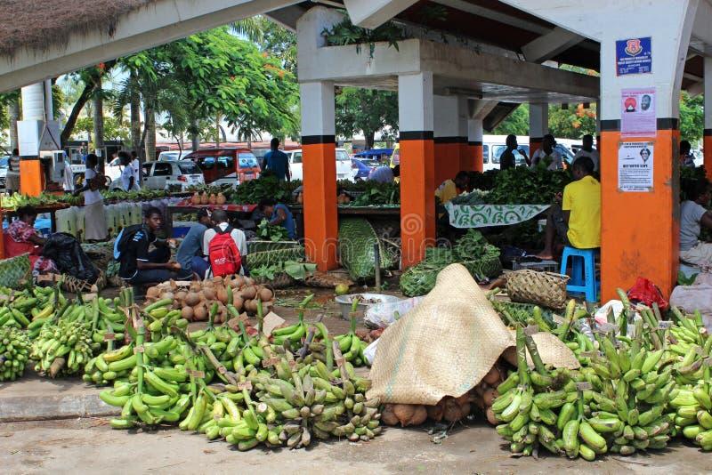 Marknad i Port Vila i Vanuatu, Mikronesien, South Pacific royaltyfri bild