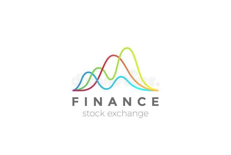 Marknaden för affärsfinansbörsen kartlägger logo vektor illustrationer