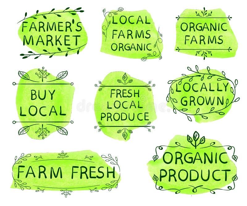 Marknaden för bonde` s, lokal brukar organiska organiska lantgårdar, köplokalen, ny lokal jordbruksprodukter, lokalt som är fullv stock illustrationer