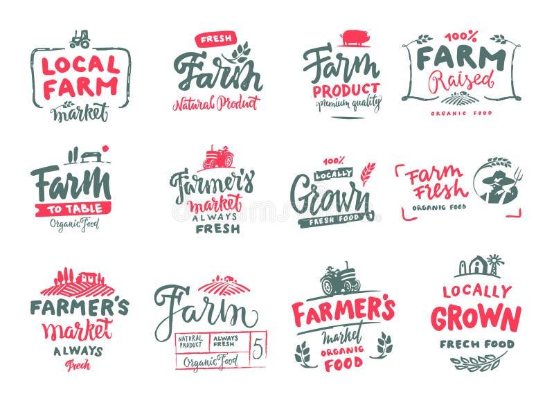 Marknaden för bonde s, organisk mat, mjölkar, och äggemblem ställer in Nya och lokala produktlogodesigner Typografisk ecolantgård royaltyfri bild