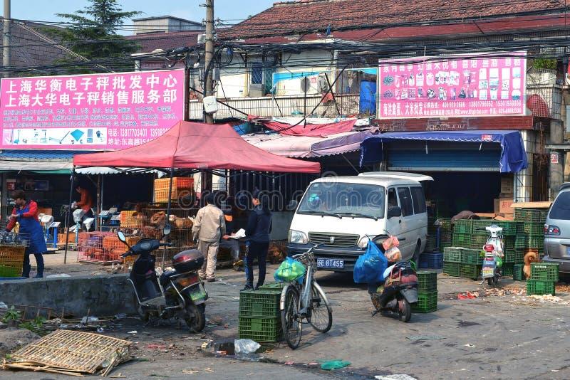Marknaden säljer levande fåglar i Kina royaltyfri bild
