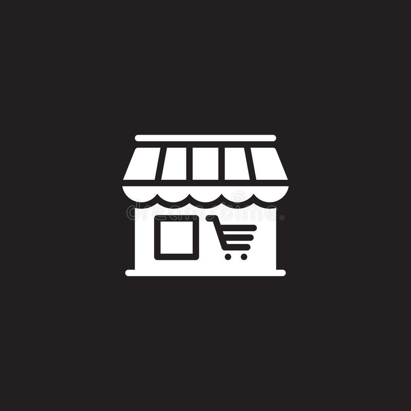 Marknaden shoppar symbolsvektorn, det fyllda plana tecknet, den fasta vita pictogramen som isoleras på svart royaltyfri illustrationer