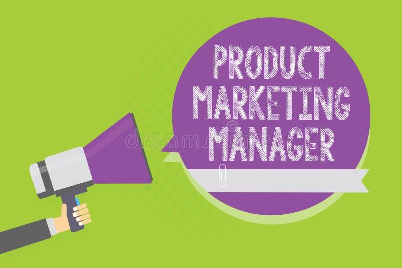 Marknadschef för produkt för ordhandstiltext Affärsidé för vem som är ansvarig för att sätta plan för att sälja produktmannen som vektor illustrationer