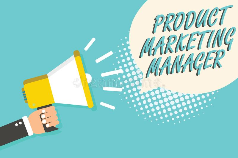 Marknadschef för produkt för ordhandstiltext Affärsidé för vem som är ansvarig för att sätta plan för att sälja produktmannen som royaltyfri illustrationer
