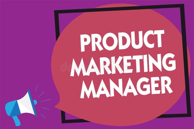 Marknadschef för produkt för textteckenvisning Begreppsmässigt foto som ansvarig för att sätta plan för att sälja produktmegafonl stock illustrationer