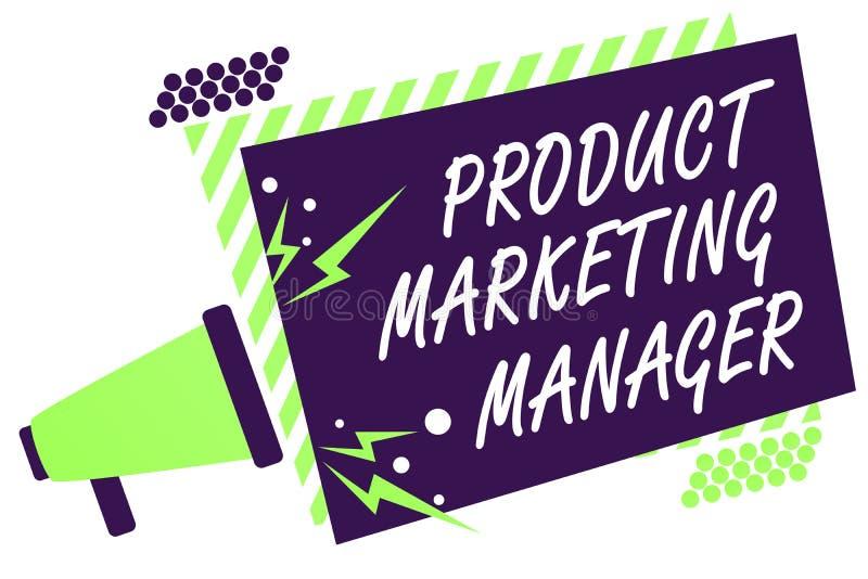 Marknadschef för produkt för textteckenvisning Begreppsmässigt foto som ansvarig för att sätta plan för att sälja produktmegafonl royaltyfri illustrationer