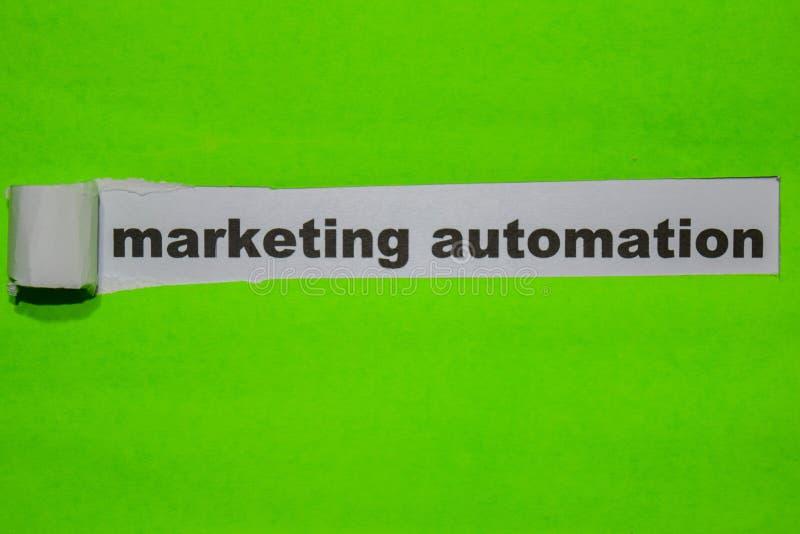 Marknadsföra automation, inspiration och affärsidé på grönt sönderrivet papper fotografering för bildbyråer