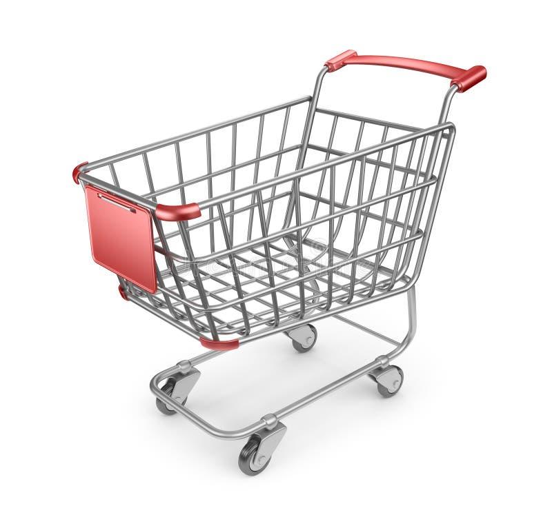Marknadsföra shoppingvagnen 3D.   royaltyfri illustrationer