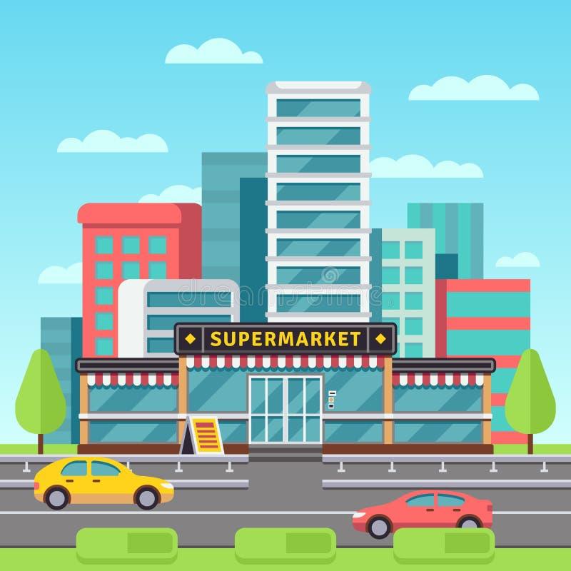 Marknadsföra yttersida, supermarketbyggnad, livsmedelsbutik i modern cityscape med illustrationen för galleriaparkeringsvektorn vektor illustrationer