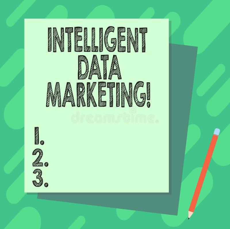 Marknadsföring för data för ordhandstiltext intelligent Affärsidéen för information som är relevant till ett målkonto s, är markn royaltyfri illustrationer