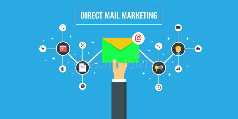 Marknadsföring för direkt post - emailmarknadsföring - hållande informationsbladbegrepp för affärsman Plan designvektorillustrati vektor illustrationer