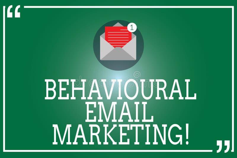 Marknadsföring för Email för handskrifttext beteende- Kuvert för customercentric för avtryckare för begreppsbetydelse öppet för g royaltyfri illustrationer