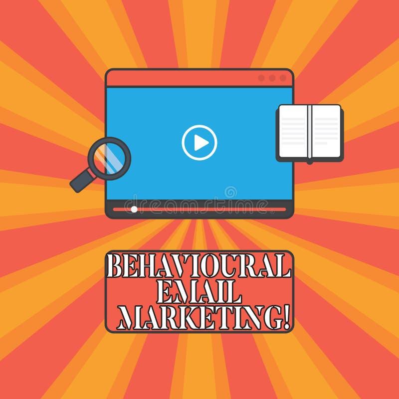 Marknadsföring för Email för handskrifttext beteende- Minnestavla för strategi för messaging för grund för avtryckare för begrepp royaltyfri illustrationer