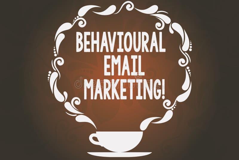 Marknadsföring för Email för ordhandstiltext beteende- Affärsidé för customercentric kopp för strategi för avtryckaregrundmessagi stock illustrationer