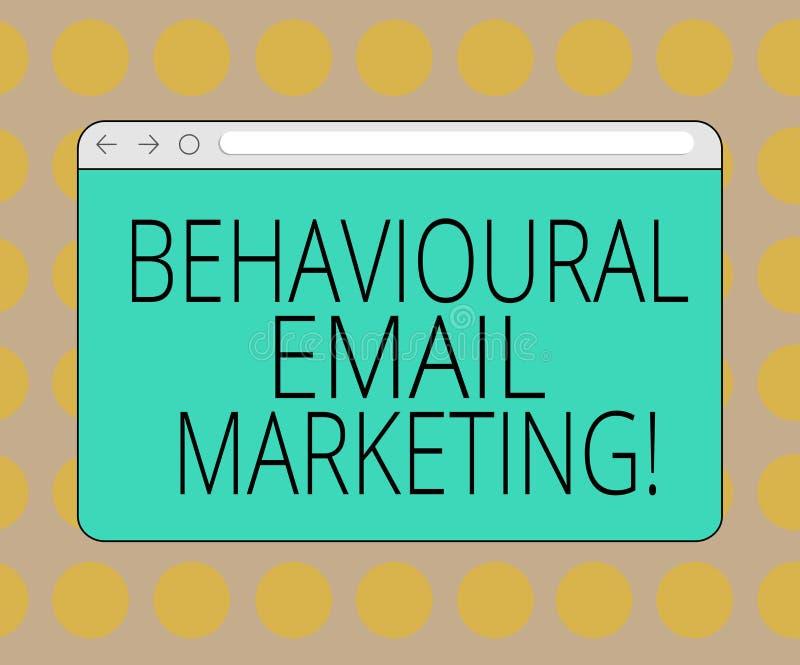 Marknadsföring för Email för ordhandstiltext beteende- Affärsidé för customercentric strategi för avtryckaregrundmessaging stock illustrationer
