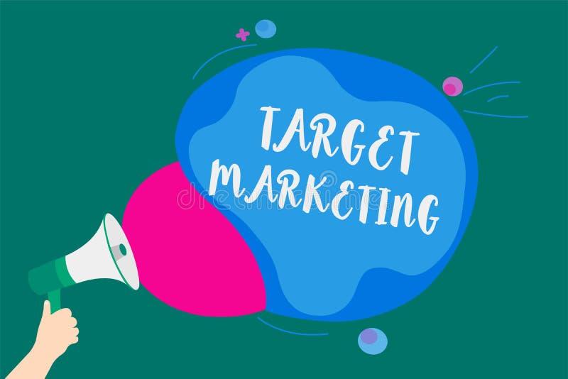 Marknadsföring för mål för ordhandstiltext Affärsidéen för valda klientkunder för åhörare som målet annonserar, framför meddeland stock illustrationer