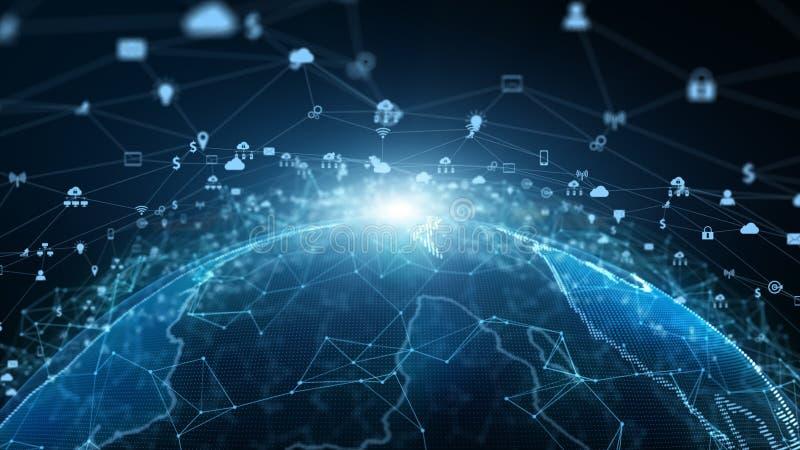 Marknadsföring för nätverk för anslutning för teknologinätverksdata och Cybersäkerhetsbegrepp Jordbest?ndsdel som m?bleras av Nas royaltyfri illustrationer