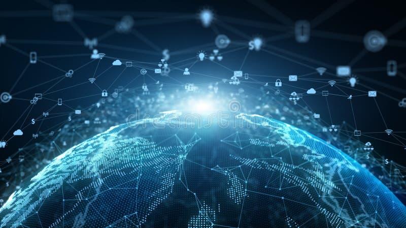 Marknadsföring för nätverk för anslutning för teknologinätverksdata och Cybersäkerhetsbegrepp Jordbest?ndsdel som m?bleras av Nas vektor illustrationer