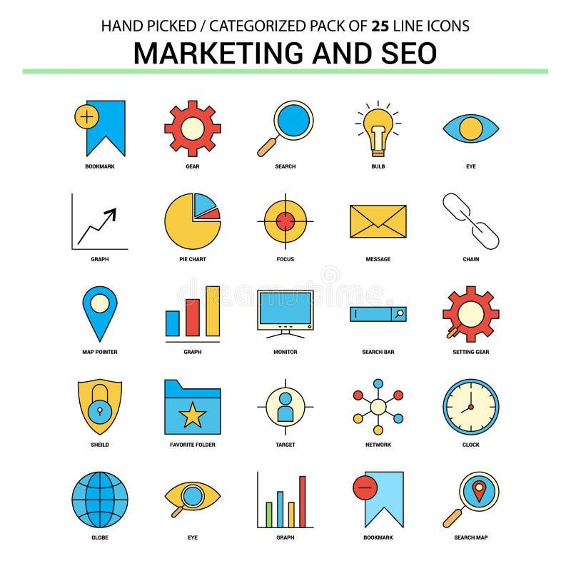 Marknadsföring och SEO Flat Line Icon Set - affärsidésymboler De royaltyfri illustrationer