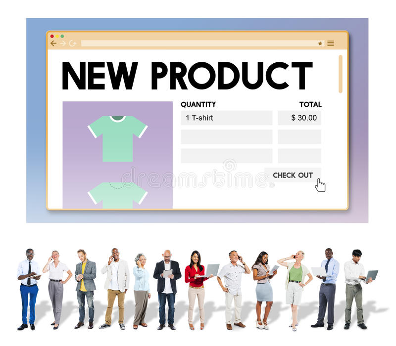 Marknadsföringen för befordran för ny produktlansering servar begrepp royaltyfria foton