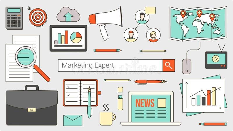 Marknadsförings- och redovisningsexpert stock illustrationer