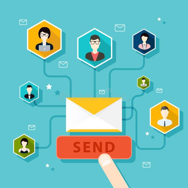 Marknadsföringsbegrepp av den rinnande emailaktionen, emailadvertizing, vektor illustrationer