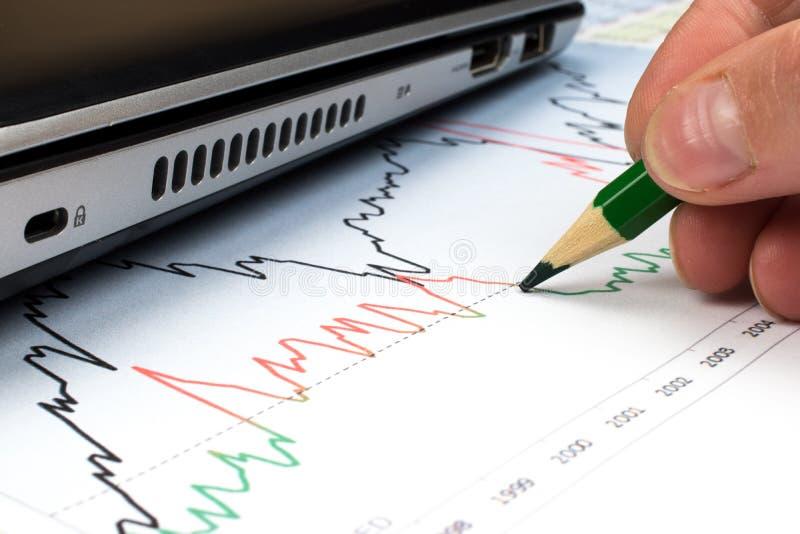 Marknadsföringsbegrepp: Grafer för aktiemarknad royaltyfri fotografi