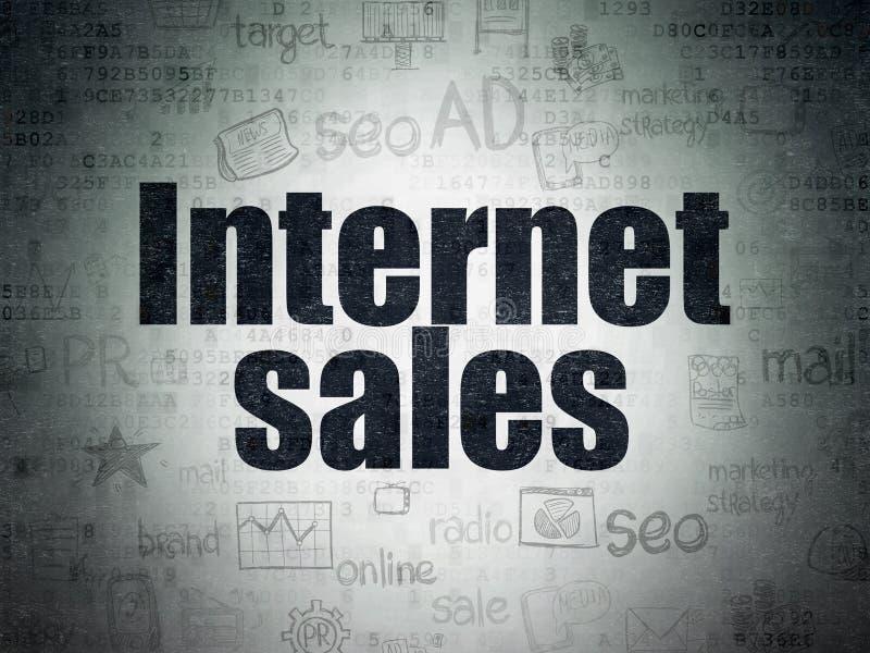 Marknadsföringsbegrepp: Internetförsäljningar på pappersbakgrund för Digitala data royaltyfri illustrationer