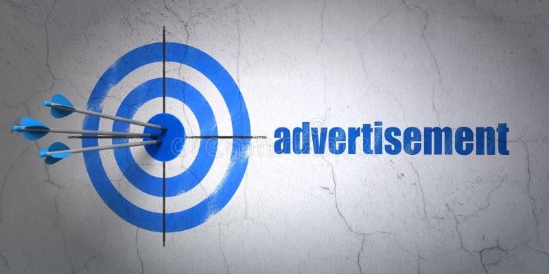 Marknadsföringsbegrepp: mål och annonsering på royaltyfri illustrationer
