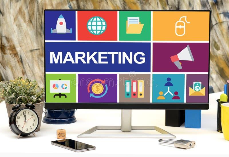 Marknadsföringsbegreppsdesign på bildskärmskärm i regeringsställning arkivfoton