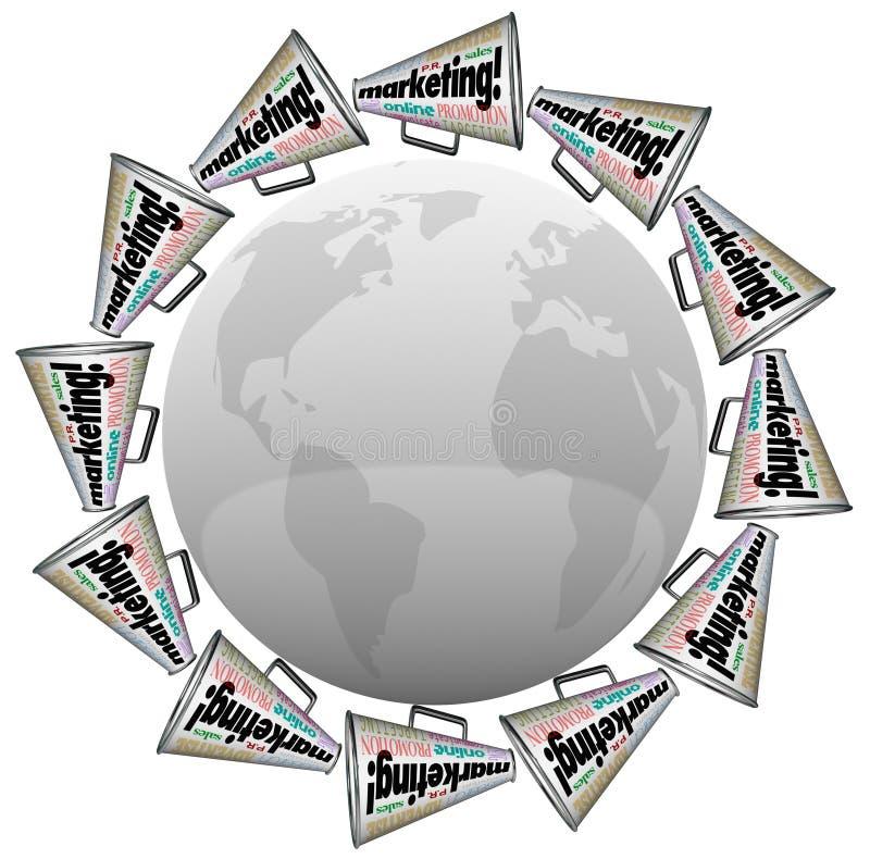 Marknadsföringsmegafonmegafoner som brännmärker advertizing runt om världen vektor illustrationer