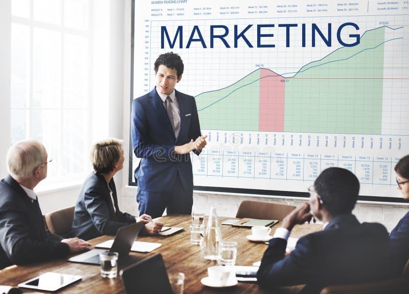 Marknadsföringsplananalys Graphs begrepp för affärsmål royaltyfria bilder
