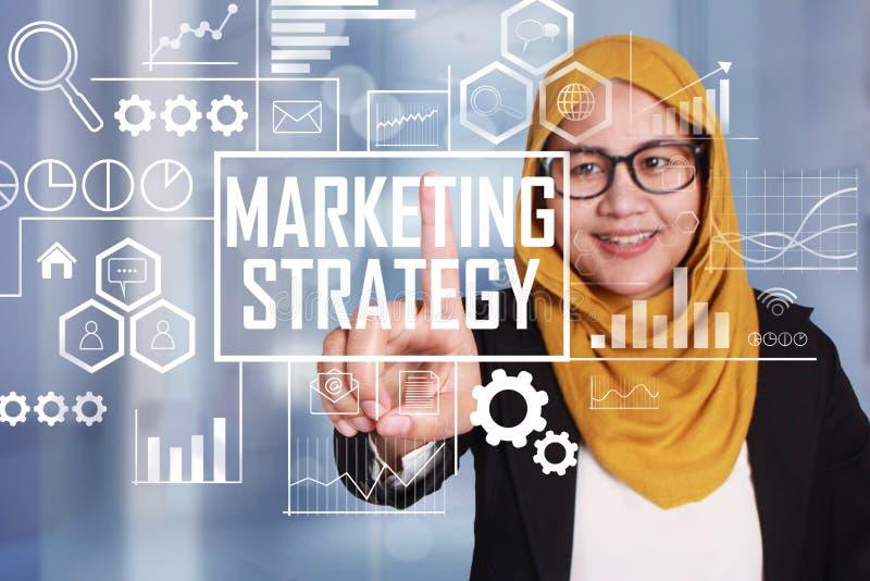 Marknadsföringsstrategi i affärsidé arkivbild