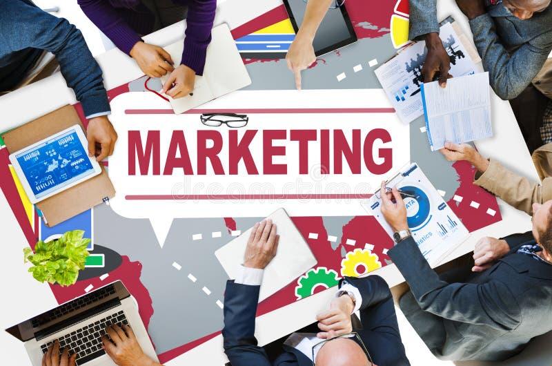 Marknadsföringsstrategi som brännmärker det kommersiella annonseringplanet Concep fotografering för bildbyråer