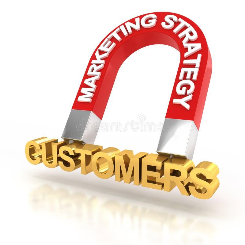 Marknadsföringsstrategi som tilldrar kunder, 3d framför stock illustrationer
