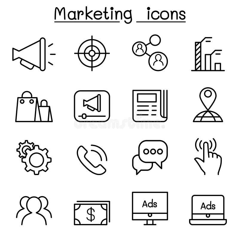 Marknadsföringssymbolsuppsättning i den tunna linjen stil vektor illustrationer