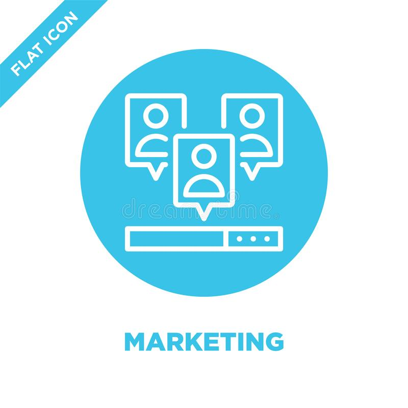 Marknadsföringssymbolsvektor Tunn linje illustration för vektor för marknadsföringsöversiktssymbol marknadsföra symbolet för bruk vektor illustrationer