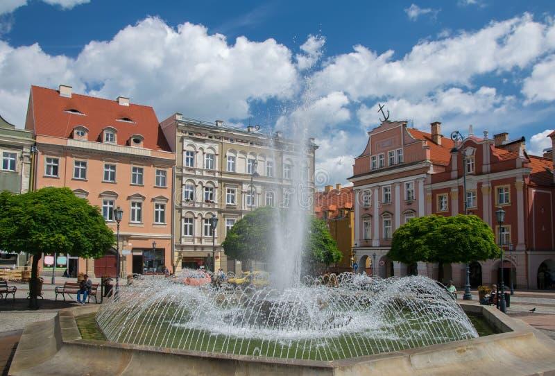 Marknadsfyrkant av den Walbrzych staden, lägre Silesia, Polen royaltyfria bilder
