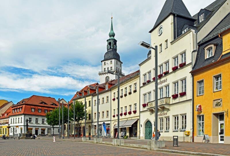 Marknadsfyrkant av Frankenberg i den Sachsen Tyskland royaltyfri foto