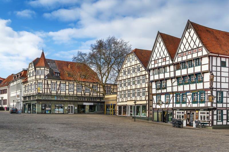 Marknadsfyrkant, Soest, Tyskland royaltyfri fotografi