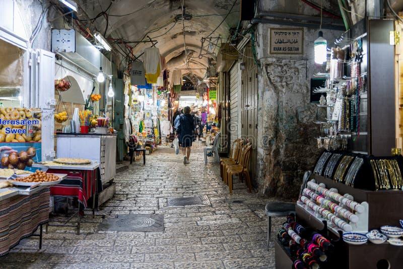 Marknadsgatan i jerusalem royaltyfria bilder
