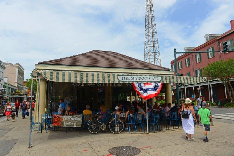 Marknadskafét i den franska fjärdedelen, New Orleans royaltyfri foto