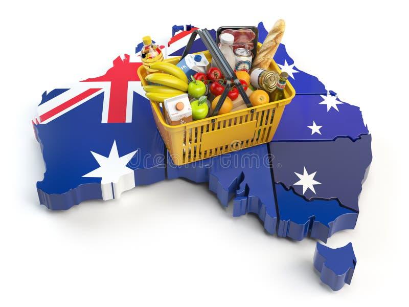 Marknadskorg eller konsumentprisindex i Australien Shoppingbas royaltyfri illustrationer