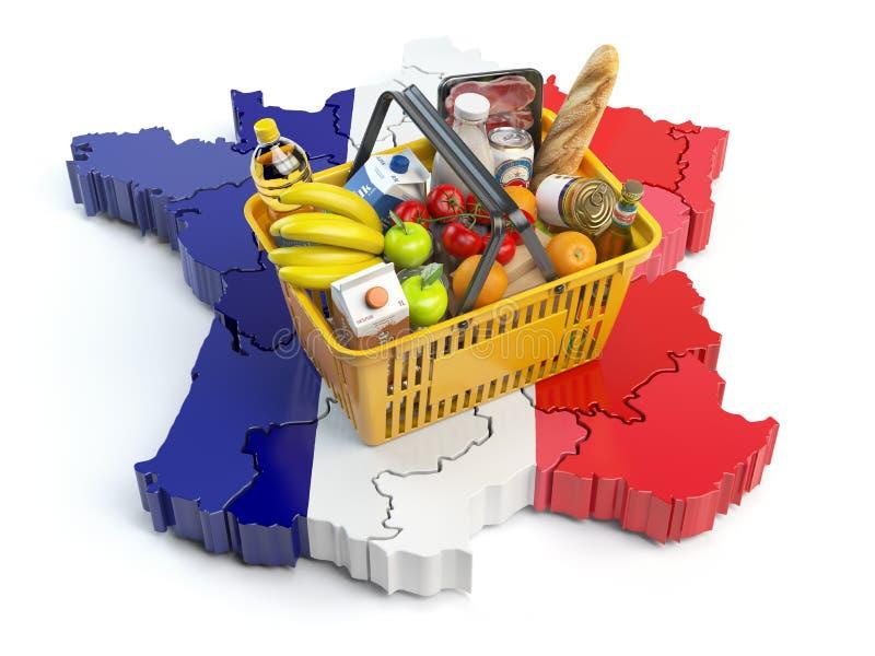 Marknadskorg eller konsumentprisindex i Frankrike kunder som shoppar supermarketen stock illustrationer