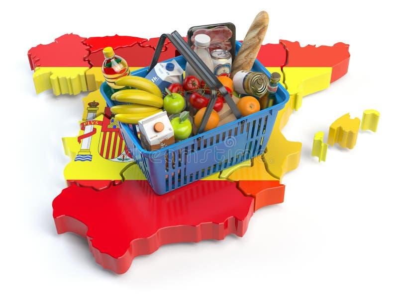 Marknadskorg eller konsumentprisindex i Spanien kunder som shoppar supermarketen vektor illustrationer