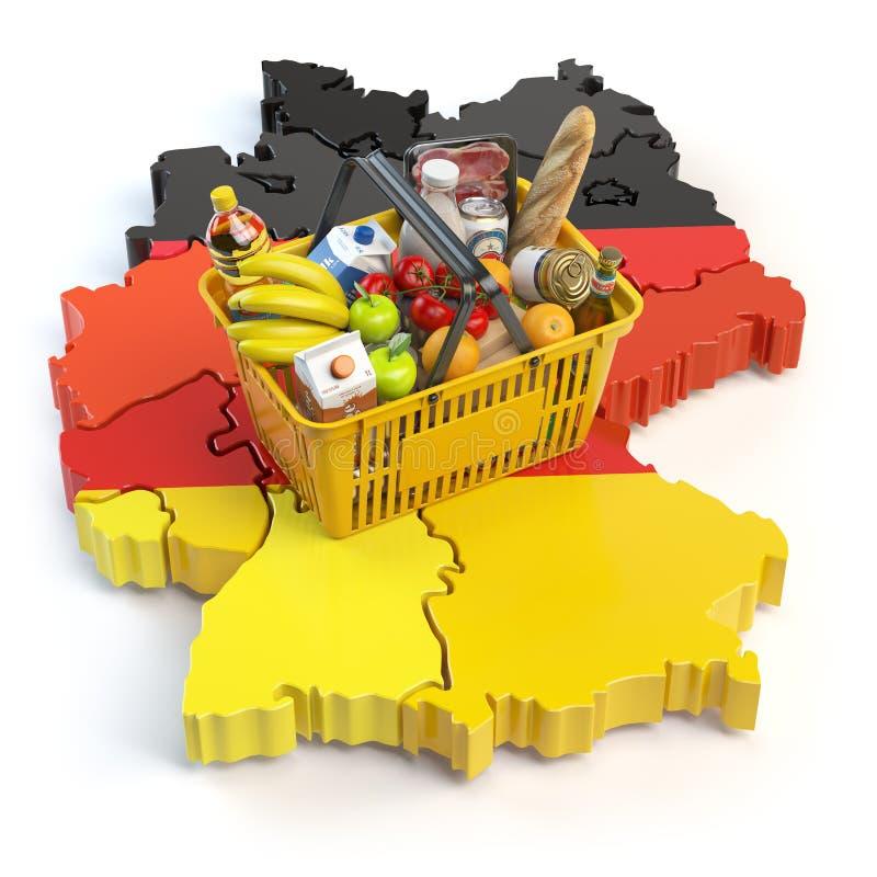 Marknadskorg eller konsumentprisindex i Tyskland Shoppingbaske vektor illustrationer